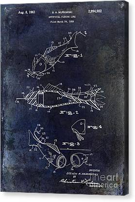 Fishing Lure Patent 1959 Blue Canvas Print