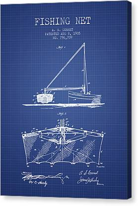 Reel Canvas Print - Fishing Net Patent From 1905- Blueprint by Aged Pixel