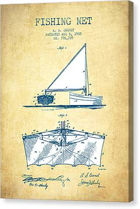Reel Canvas Print - Fishing Net Patent From 1905- Vintage Paper by Aged Pixel