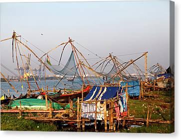 Fishing Nets In Fort Kochi, Kerala Canvas Print by Jill Schneider