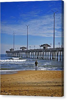 Fishing Next To Jennette's Pier Canvas Print by Matt Taylor