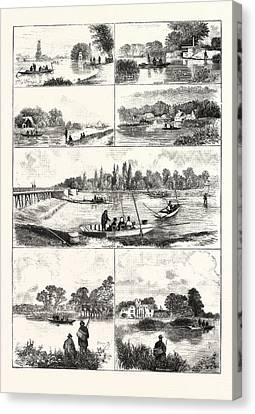 Fishing Nooks On The Thames, Engraving 1876, Uk, Britain Canvas Print by English School