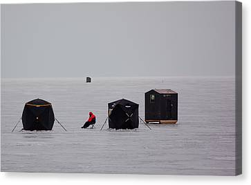 Fishing On Icy Lake Canvas Print