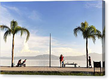 Fishing On Lake Chapala Canvas Print by David Perry Lawrence