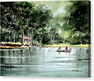 Fishing On Lazy Days - Aucilla River Florida Canvas Print by Bill Holkham
