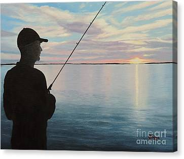 Fishing On The Flats Canvas Print by Jimmie Bartlett