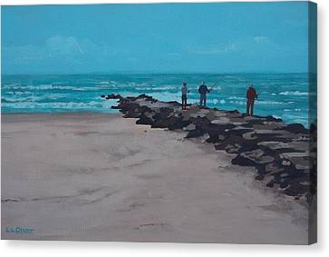Fishing On The Jetty Canvas Print by Elisabeth Olver
