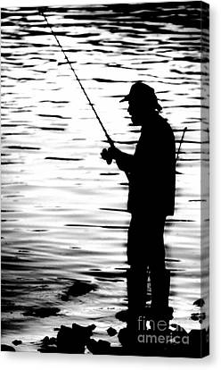 Fishing On The Maumee River Canvas Print by Michael Arend