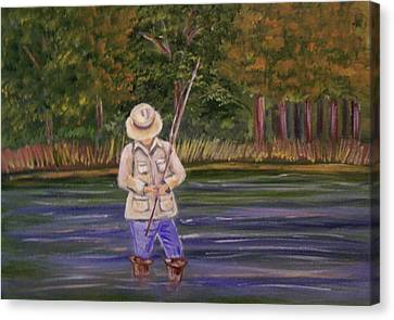 Fishing On The River Canvas Print by Belinda Lawson