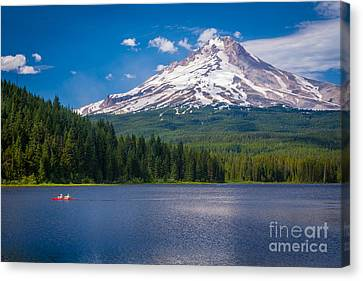 Fishing On Trillium Lake Canvas Print by Inge Johnsson