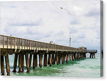 Pompano Canvas Print - Fishing Pier At Pompano Beach, Broward by Panoramic Images