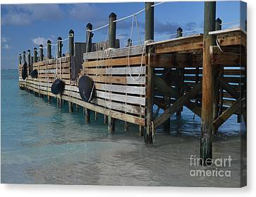 Canvas Print featuring the photograph Fishing Pier by Judy Wolinsky