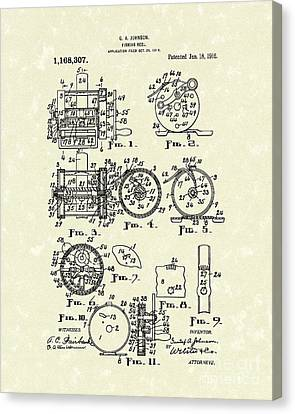 Fishing Reel 1916 Patent Art Canvas Print by Prior Art Design