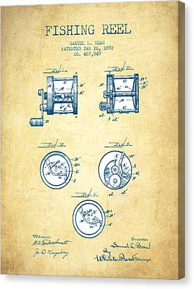 Reel Canvas Print - Fishing Reel Patent From 1892 - Vintage Paper by Aged Pixel