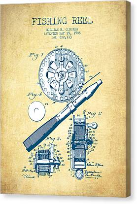 Fishing Reel Patent From 1906 - Vintage Paper Canvas Print