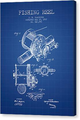 Fishing Reel Patent From 1907 - Blueprint Canvas Print