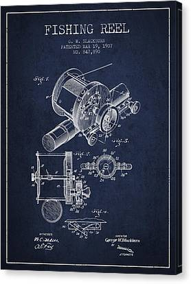 Reel Canvas Print - Fishing Reel Patent From 1907 - Navy Blue by Aged Pixel