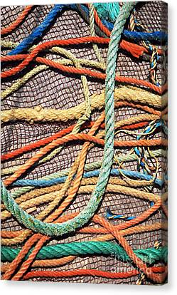 Fishing Ropes And Net Canvas Print by Carlos Caetano