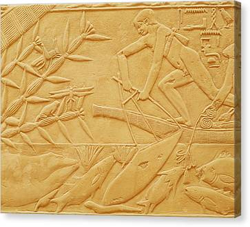 Fishing Scene, From The Mastaba Of Kagemni, Old Kingdom Limestone Canvas Print by Egyptian 6th Dynasty