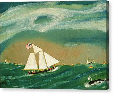 Whale Canvas Print - Fishing Schooner Josephine On The Grand Banks by John OJ Frost