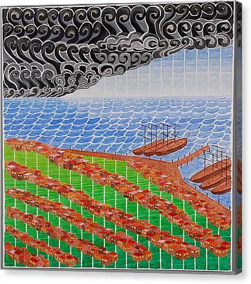 Fishing Shack Town Canvas Print
