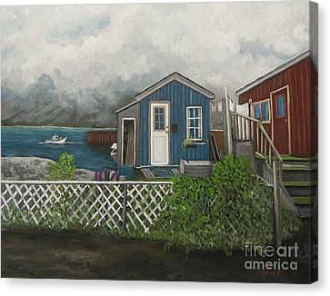 Fishing Shacks Alaska Canvas Print by Reb Frost