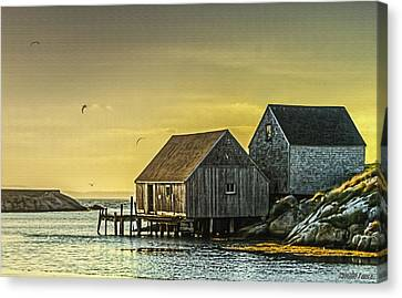 Fishing Shacks At Sunset Canvas Print