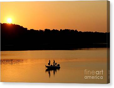 Canvas Print featuring the photograph Fishing Silhouette  by Kathy  White
