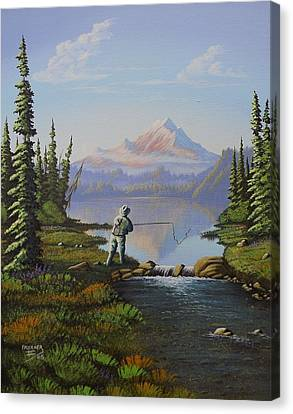 Canvas Print featuring the painting Fishing The High Lakes by Richard Faulkner