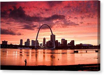 Fishing The Mississippi In St Louis Canvas Print by Garry McMichael