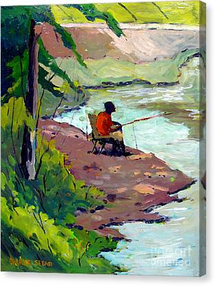 Fishing The Spillway Canvas Print by Charlie Spear