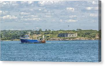 Canvas Print featuring the photograph Fishing Trawler Coming Into Port by Jane Luxton