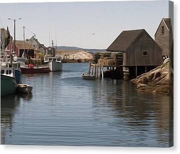 Canvas Print featuring the digital art Fishing Village by Kelvin Booker