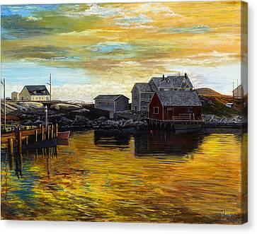 Fishing Village Maine  Canvas Print by Stuart B Yaeger
