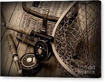 Fishing - Vintage Fishing  Black And White Canvas Print by Paul Ward