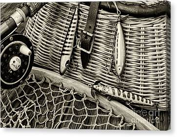 Fishing - Vintage Fishing Lures In Black And White Canvas Print by Paul Ward