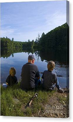 Poignant Canvas Print - Fishing With Grandad by Diane Diederich