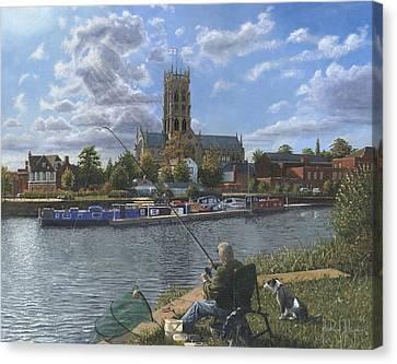 Saint George Canvas Print - Fishing With Oscar - Doncaster Minster by Richard Harpum