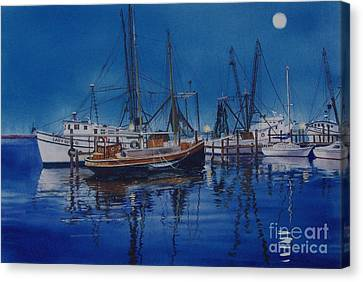 Canvas Print featuring the painting Fishmoon by Karol Wyckoff
