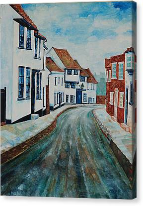 Canvas Print featuring the painting Fishpool Street - St Albans - Winter Scene by Giovanni Caputo