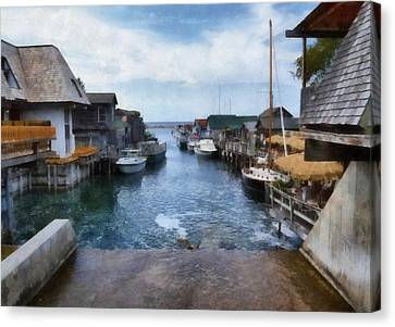 Fishtown Leland Michigan Canvas Print by Michelle Calkins