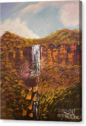 Canvas Print featuring the painting Fitsroy Falls by Pamela  Meredith