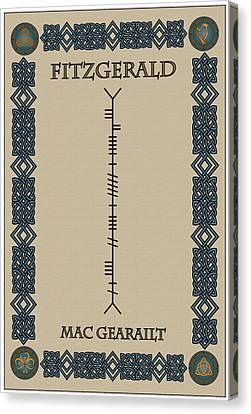 Fitzgerald Written In Ogham Canvas Print by Ireland Calling