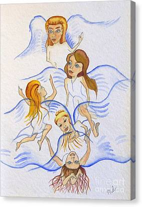 Five Angels Hanging Around  Canvas Print by Kenneth Michur