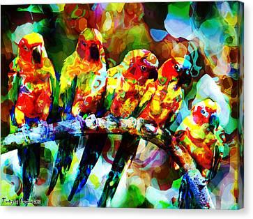 Five Artist Parrots. 2013 80/60 Cm.  Canvas Print by Tautvydas Davainis