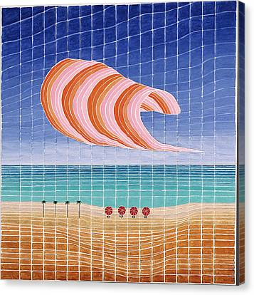 Five Beach Umbrellas Canvas Print