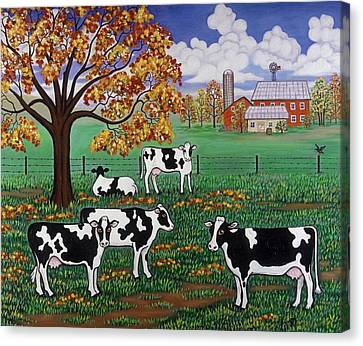 Cows Canvas Print - Five Black And White Cows by Linda Mears