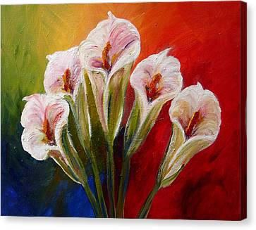 Five Cala Lillies Print Canvas Print by Mary Jo Zorad