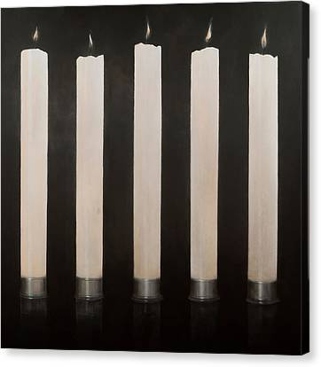 Five Candles, Sri Lanka, 2012 Acrylic On Canvas Canvas Print by Lincoln Seligman
