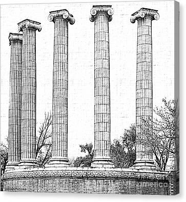 Five Columns Sketchy Canvas Print by Debbie Portwood